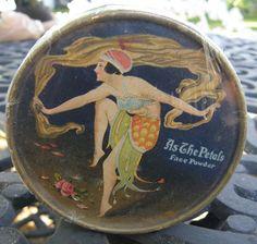 Vintage ART DECO NOUVEAU LAZELL PERFUMER AS THE PETALS FACE POWDER BOX