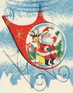 "Image from vintage Christmas card. Inside, you can cut out Santa in his ""Whirly-Bird"" to make an ornament."