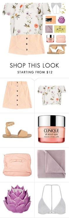 """""""madeline ♡"""" by frostedfingertips ❤ liked on Polyvore featuring Topshop, Ancient Greek Sandals, Clinique, Front Row Shop, Martex, CASSETTE, Zara Home, haileelook and clarelook"""