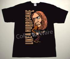 NEIL YOUNG Like  A Hurricane cartoon CUSTOM ART UNIQUE T-SHIRT   Each T-shirt is individually hand-painted, a true and unique work of art indeed!  To order this, or design your own custom T-shirt, please contact us at info@collectorware.com, or visit http://www.collectorware.com/tees-neilyoung_andrelated.htm