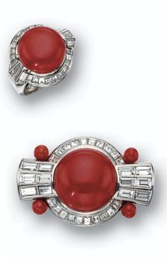 An Art Deco coral and diamond brooch and matching ring, Gübelin, circa 1940. Each set with a button coral within a frame of baguette and square-cut diamonds, the brooch also decorated with 4 coral beads, brooch mounted in palladium, ring mounted in platinum, maker's marks for Gubelin.