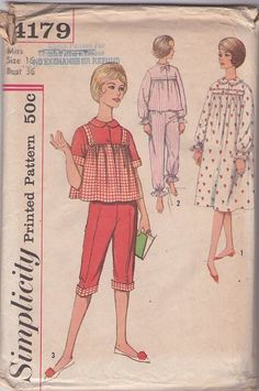 Simplicity 4179 Vintage 60's Sewing Pattern ADORABLE Gidget Slumber Party Smock Top with Button Straps, Cuffed Capri or Bloomer Pants, Modest Winter Nightgown Pajamas
