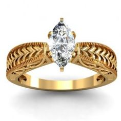Marquise Solitaire Filigree Diamond Engagement Ring