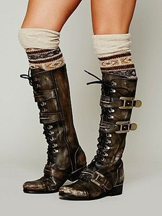 Free People Kantell Lace Up Boot at Free People Clothing Boutique. Don't love the boots but the socks with the tall shaft is supa cute Mode Steampunk, Steampunk Fashion, Steampunk Boots, Crazy Shoes, Me Too Shoes, Botas Boho, Shoe Boots, Shoe Bag, Mode Inspiration