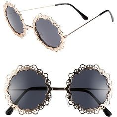 Fantas Eyes FE NY Round Sunglasses (71 BRL) ❤ liked on Polyvore featuring accessories, eyewear, sunglasses, glasses, jewelry, gold, cut out sunglasses, retro round glasses, retro style sunglasses and rounded sunglasses