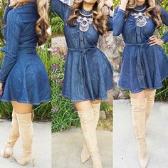 Denim Knee High Boots, Jeans Dress, Shirt Dress, Fashion Forward, High Neck Dress, How To Wear, Shirts, Clothes