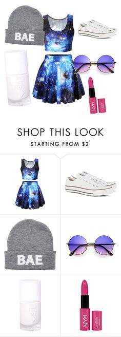 """""""a galaxy dress"""" by leafranziska-lg ❤ liked on Polyvore featuring Converse and NYX"""