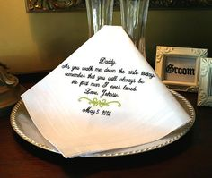Father of The Bride Handkerchief Hankie  Hanky  As by MisterandMrs