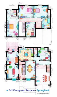 These are the floorplans of the house of The Simpsons. It's an original hand drawed plan, in scale, coloured with colour pens and with full details of furniture and complements. If you want to buy an original drawing, especially handmade for you write me to mailto:ializar@hotmail.com or visit my ETSY store.