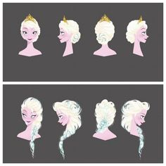 Disney 30 day challenge day Favorite hair Frozen-Elsa's many hairstyles. Walt Disney, Disney Pins, Disney Love, Disney Magic, Disney Frozen, Disney Art, Frozen Snow, Disney Stuff, Winnie The Pooh