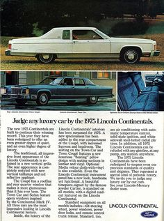ad for the 1975 Lincoln Continental