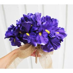 Purple Iris Bouquet Wedding Bridesmaid Bouquets Yellow Brown Burlap... (€33) ❤ liked on Polyvore featuring home, home decor, purple home accessories, yellow home accessories, brown home decor, yellow home decor and purple home decor