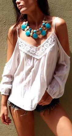 Shop White Long Sleeve Off The Shoulder With Lace Blouse online. SheIn offers White Long Sleeve Off The Shoulder With Lace Blouse & more to fit your fashionable needs. Trendy Tops, Casual Tops, Chiffon, Look Boho, Boho Style, Boho Fashion, Womens Fashion, Estilo Boho, Off Shoulder Tops