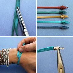 Wie man ein Armband aus Zippern erstellt:  Einfach den Reißverschluss aus dem Stoff schneiden, den Zipper daran befestigen. Einen Verschluss daran befestigen..