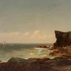 John Adams Parker - Cliffs Along the Shore, n. offered by Brock & Co. on InCollect Hudson River School Paintings, Cold Spring Harbor, John Adams, White Mountains, Art Studies, Art Club, Mountain Landscape, Impressionism, Light In The Dark