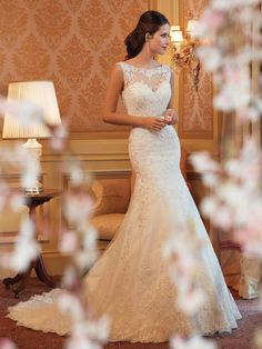 Sophia Tolli   Style No. › Y11419   Wedding Dresses 2014 Collection – Delicate lace embellishes the simple silhouette of this elegant slim A...