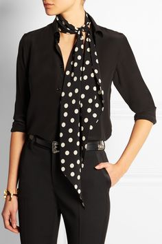 Saint Laurent|Polka-dot silk-crepe scarf|NET-A-PORTER.COM