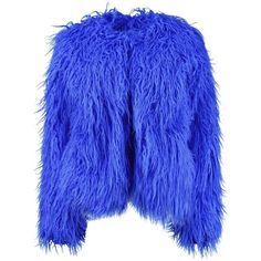 Boohoo Sophia Shaggy Fur Coat ($58) ❤ liked on Polyvore featuring outerwear, coats, blue fur coat, blue coat, boohoo coats and fur coat