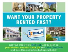 Want your properties Rented FAST? Post it online at Rent.ph.   Sign up is FREE: http://www.Rent.ph