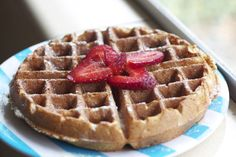 Whole wheat flax Belgian waffles. These are sooo good!  Add 1/4 cup cornstarch to make them crispy. Add 1 tsp vanilla or almond extract.  They even taste great plain with no toppings.