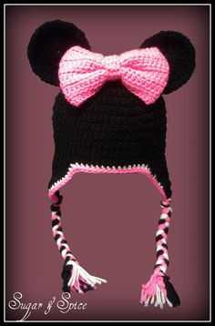 Minnie inspired crochet hat / beanie SOOOO by SugarAndSpiceTexas @Lynda Wood Wood Kirkpatrick