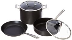 KitchenAid Professional Hard Anodized Nonstick 10-Piece Cookware Set - Black  Dishwasher Durable with Nonstick Colorfast Finish 3-Layer Nonstick Interior Induction Capable 5.5 mm Hardened Aluminum Riveted Stainless Steel Handle(s)