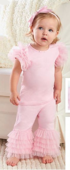 Little girls look so cute dressed in ruffles.  This Mud Pie Pretty in Pink Jeweled Disco Outfit has ruffles on the sleeves and on the pants and make her look so girly girl.  Wouldn't this make the perfect outfit for a birthday party?  It comes in four sizes too! $38.99