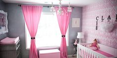"""Vintage glam nursery at it's best. Pink peacock wallpaper, mirrored dresser, modern crib, glam accents make for a beautiful nursery. Dee from Sproutstyle designed this nursery for her baby girl. Dee describes the room: """"I knew I wanted a room that would grow with Claire, and in a modern-vintage style, but as far as color, ...continue reading"""