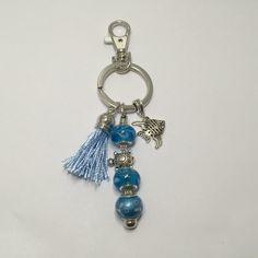 Porte-clefs ou bijou de sac , coloris bleu   réf 752 de la boutique perlesacoco sur Etsy