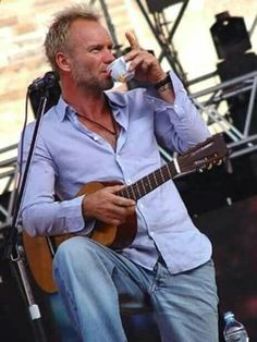 Sting drinks his coffee on stage doing what he does best #passion #passionateaboutcoffee