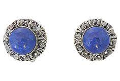 1950s Napier Filigree Faux-Lapis Cabochon Earrings