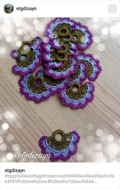 This Pin was discovered by Elm Crochet Flowers, Crochet Lace, Crochet Edging Patterns, Crochet Symbols, Hand Embroidery Videos, Irish Crochet, Tatting, Diy And Crafts, Crochet Earrings