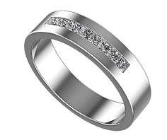 Channel Set Princess Cut Diamond Ring For Mens