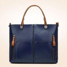 Women Oil Wax Leather Tote Bag Retro Shoulder Bags Handbags