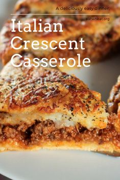 Homemade & Easy Italian Crescent Casserole Homemade & Easy Italian Crescent Casserole Classic Italian flavors in a flaky Crescent crust, ready in 30 minutes. This recipe is not only convenient and easy, but delicious too! Yay for casserole! Best Italian Recipes, Favorite Recipes, Pillsbury Recipes, Dinner Rolls Recipe, Dinner Recipes, Crescent Roll Recipes, Pilsbury Crescent Recipes, Food Dishes, Main Dishes