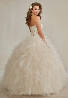 0c6de70a854 2015 Champagne Ball Gowns Quinceanera Dresses Sweetheart Embroidery Crystal  Rhinestones Beaded Colla Ruffles Prom Debutante dresses