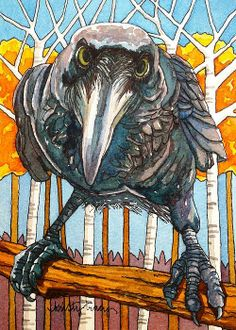 Fall Raven painting by Kristy Tracy