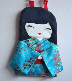 Doll Bag Japanese Blue Kimono Cherry Blossoms by NinuMiluBagDolls,