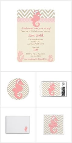 Pink Seahorse Baby Shower Collection