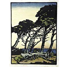 """673: WILLIAM S. RICE Color print """"Monterey Calif."""" : Lot 673"""