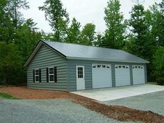 Inspect the exterior walls and floors in the detached garage with bonus room plans to look for cracks. Once you decide to move on, get building permits and ask for restrictions to create living space in your garage. Pole Barn Garage, Garage Shed, Pole Barn Homes, Detached Garage, Pole Barns, Garage Kits, Steel Garage, Garage Walls, 3 Car Garage Plans