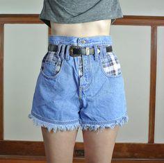 High Waisted Denim Shorts Plaid Pockets // 90's by RHvintage, $19.00