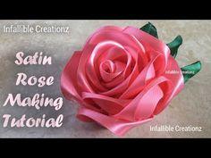 DIY ribbon rose tutorial,How to,fabric flowers,easy Diy Ribbon Flowers, Ribbon Flower Tutorial, Rose Tutorial, Ribbon Crafts, Fabric Flowers, Ribbon Diy, Headband Tutorial, Ribbon Work, Roses En Ruban Satin