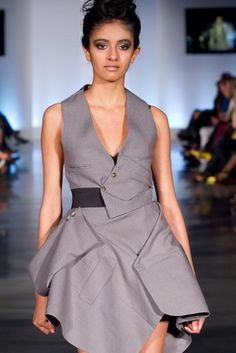 Kim Cathers, at Eco Fashion Week Vancouver, re-cycled men's suit into dress