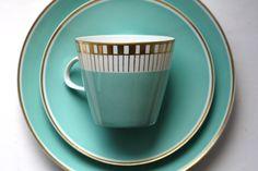 Vintage Blue German Tea Cup Set