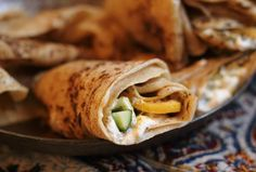 Druze Laffa with Preserved Lemons, Cucumber and Labneh.