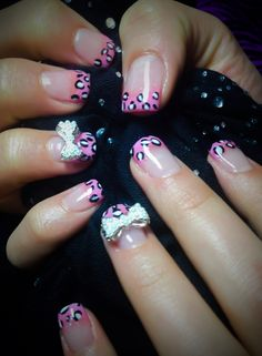 Gel Nails-Bubblegum Pink tips with cheetah design and 3D pearl bows