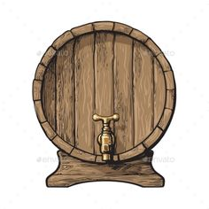 Buy Front View Wooden Barrel with Tap by Sabelskaya on GraphicRiver. Wooden barrel with tap, sketch style vector illustrations isolated on white background. Front view of wine, rum, beer. Vector Graphics, Vector Art, Vector Illustrations, Bottle Cap Coasters, Beer Logo Design, Diorama, Old Western Towns, Sketch Style, Wine Cask