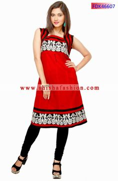 MELODIC RED COLOR COTTON FABRIC READY MADE KURTI