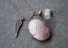 Medaillonketten - Pusteblume Medaillon - ein Designerstück von Aquarellia bei DaWanda